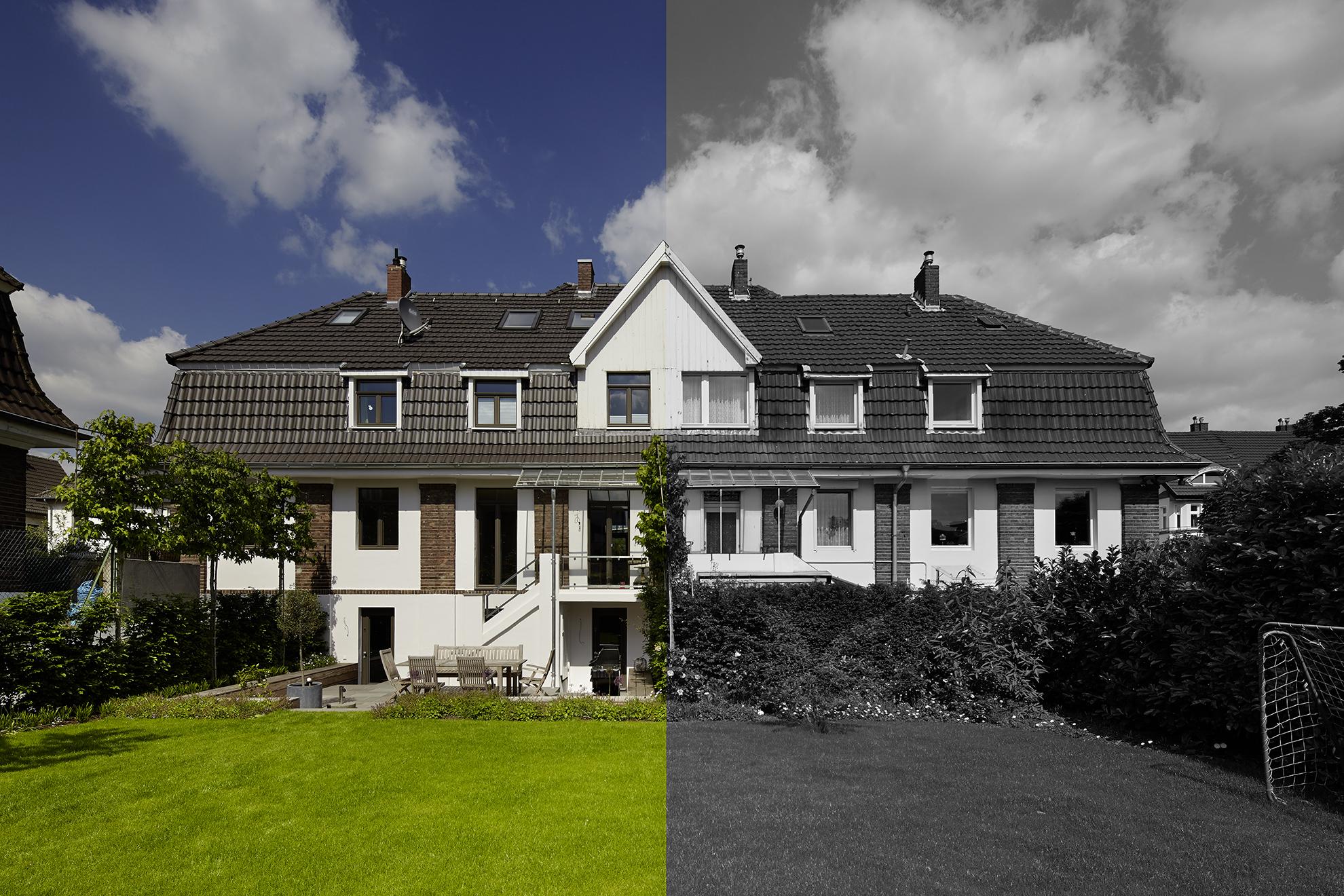Gartenansicht Umbau und Bestand